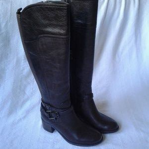Marc Fisher Knee High Riding Boots Brown Leather